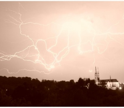 Lightnings over saint Joachim church (Sosnowiec), Photo 618